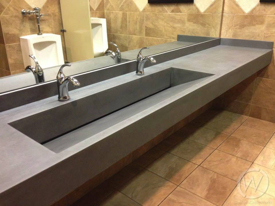 Commercial Restroom Concrete Ramp Sink At Plate Barrel Bathroom - Commercial bathroom sinks and counters