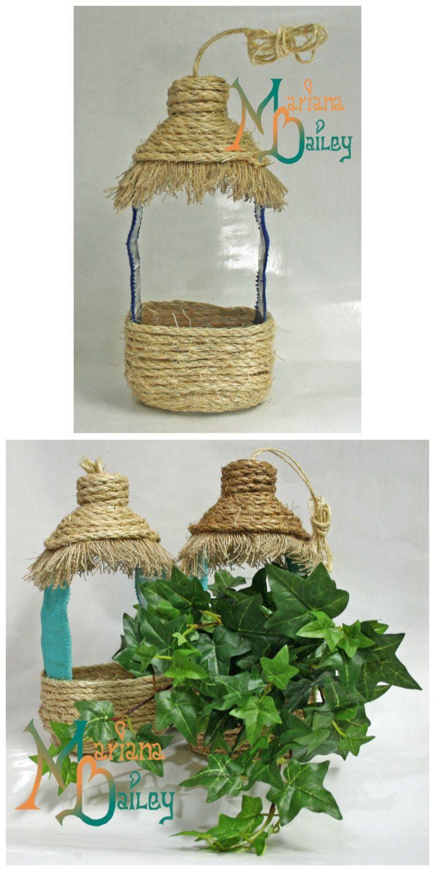 Hang Planter, Bird feeder Plastic bottle crafts, Bottle
