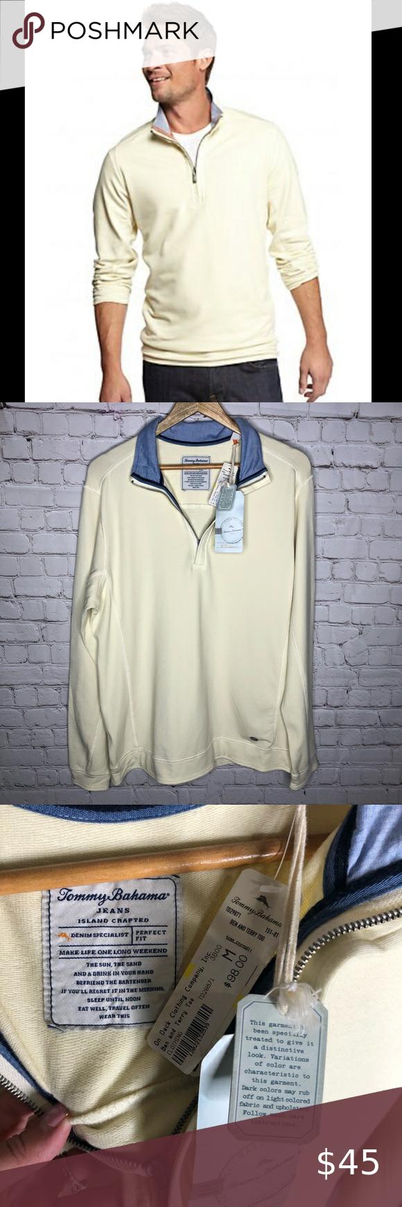 Nwt Tommy Bahama Ben And Terry 1 2 Zip Sweatshirt Tommy Bahama Shirts Zip Sweatshirt Long Sleeve Tshirt Men [ 1740 x 580 Pixel ]
