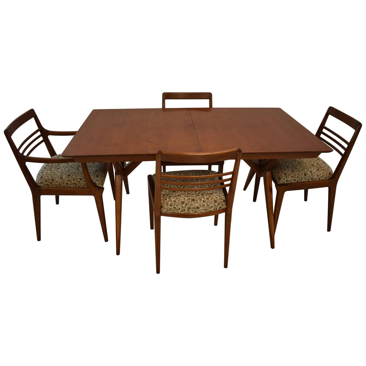 Mid Century Modern Dining Room Table And Four Chairs Johnson