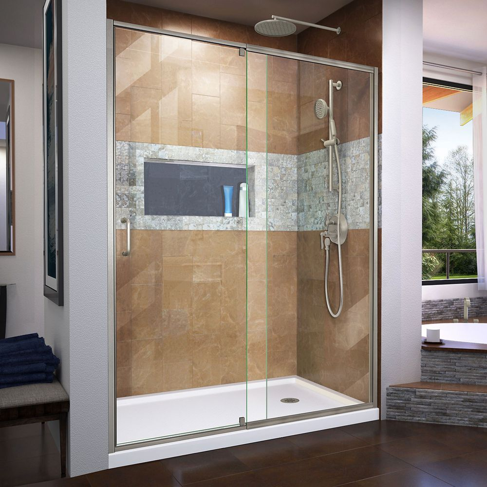 Flex 32 Inch D X 60 Inch W Shower Door In Brushed Nickel With Right Drain White Base Kit Shower Doors Semi Frameless Shower Doors Corner Shower Kits