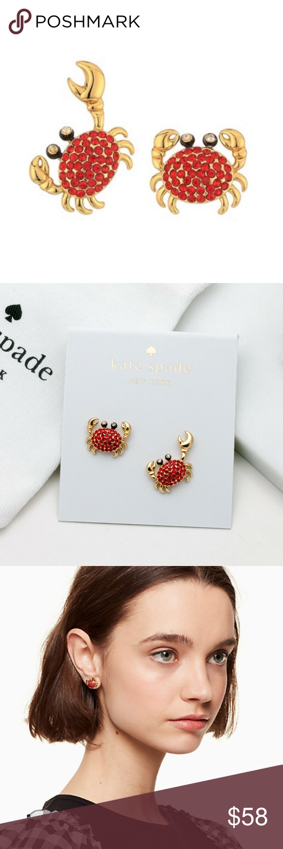 1b343fe629a8c KATE SPADE ♠️ Shore Thing Pave Crab Studs Coming Soon! There's ...