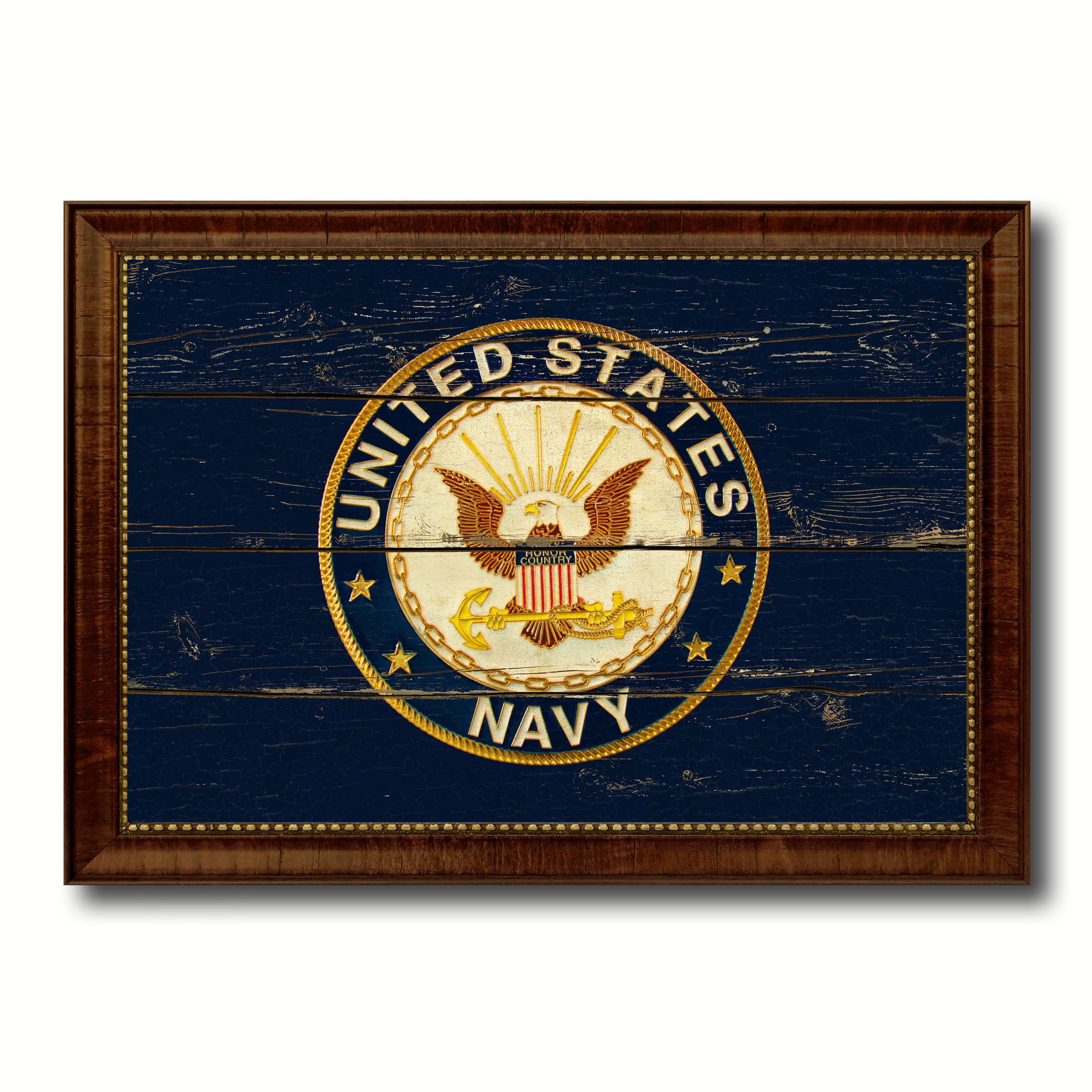 US Navy Seal Military Flag Vintage Canvas Print with Brown Picture ...