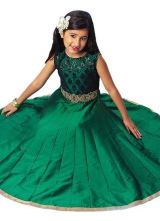 5aa74ae36a222 Green Embroidery Work Silk Designer Fancy Long Fancy Party Wear Kids Gown  http://