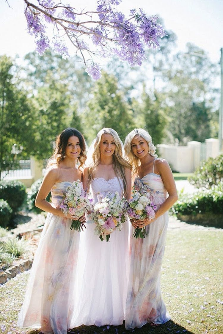 Floral bridesmaid dresses are blossoming into the latest wedding bridesmaid fun floral bridesmaid dresses ombrellifo Image collections