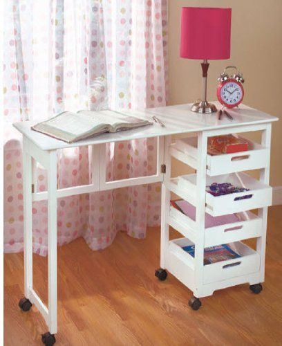 Space Saver Craft Table W Wheels Folds Away In White Fold Away Desk Home Contemporary Home Office Furniture