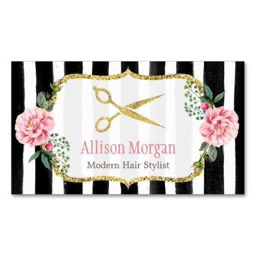 Hair Stylist Floral Gold Scissors Appointment Card Double-Sided Standard Business Cards (Pack Of 100)