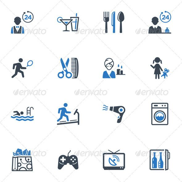 Hotel Services and Facilities Icons, Set 2  Blue — Photoshop PSD #babysitting #tv • Available here → https://graphicriver.net/item/hotel-services-and-facilities-icons-set-2-blue/4312286?ref=pxcr
