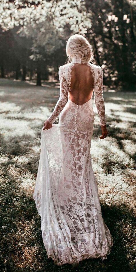 Amazing Open Back Wedding Dress Weddingdresses Bridalgowns Bridal Gowns Mermaid Backless Wedding Wedding Dress Long Sleeve