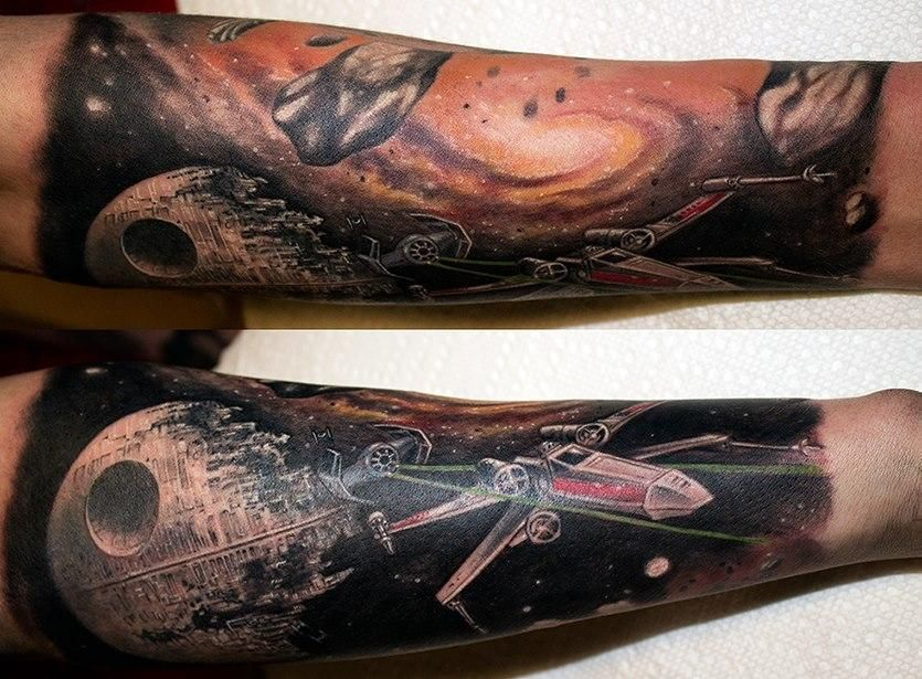 Star Wars Sleeve Tattoos Boba Fett Pin Up And X Wing Battle Star