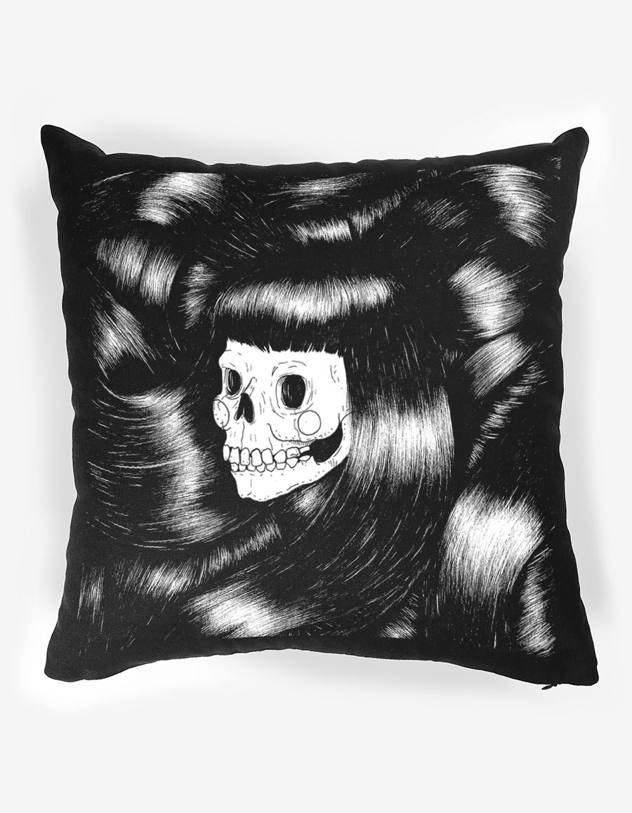 The Club of Odd Volumes - Skull and Hair cushion Designed by Monochrome