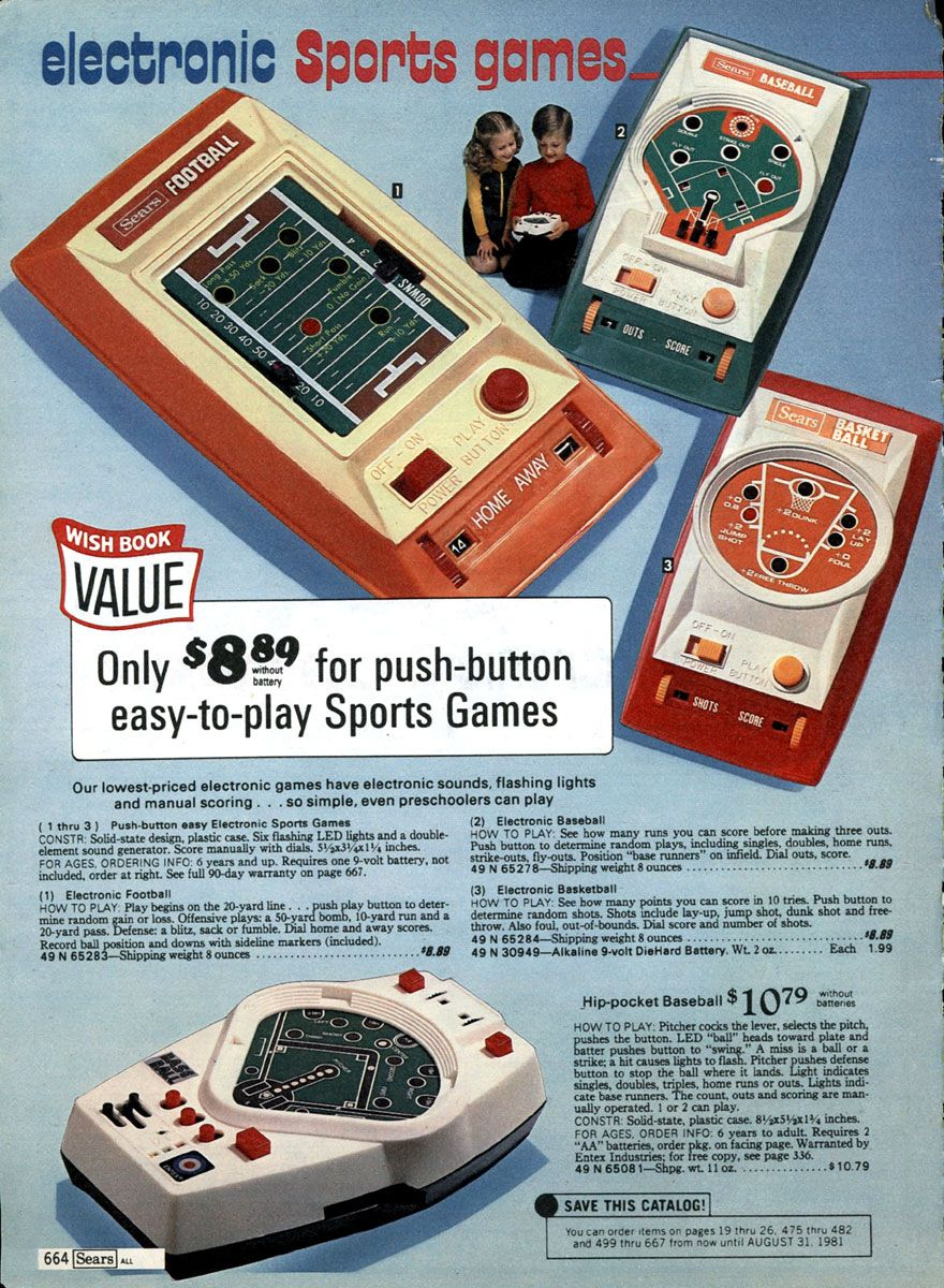Retro toys and video games from the Sears Christmas Wish