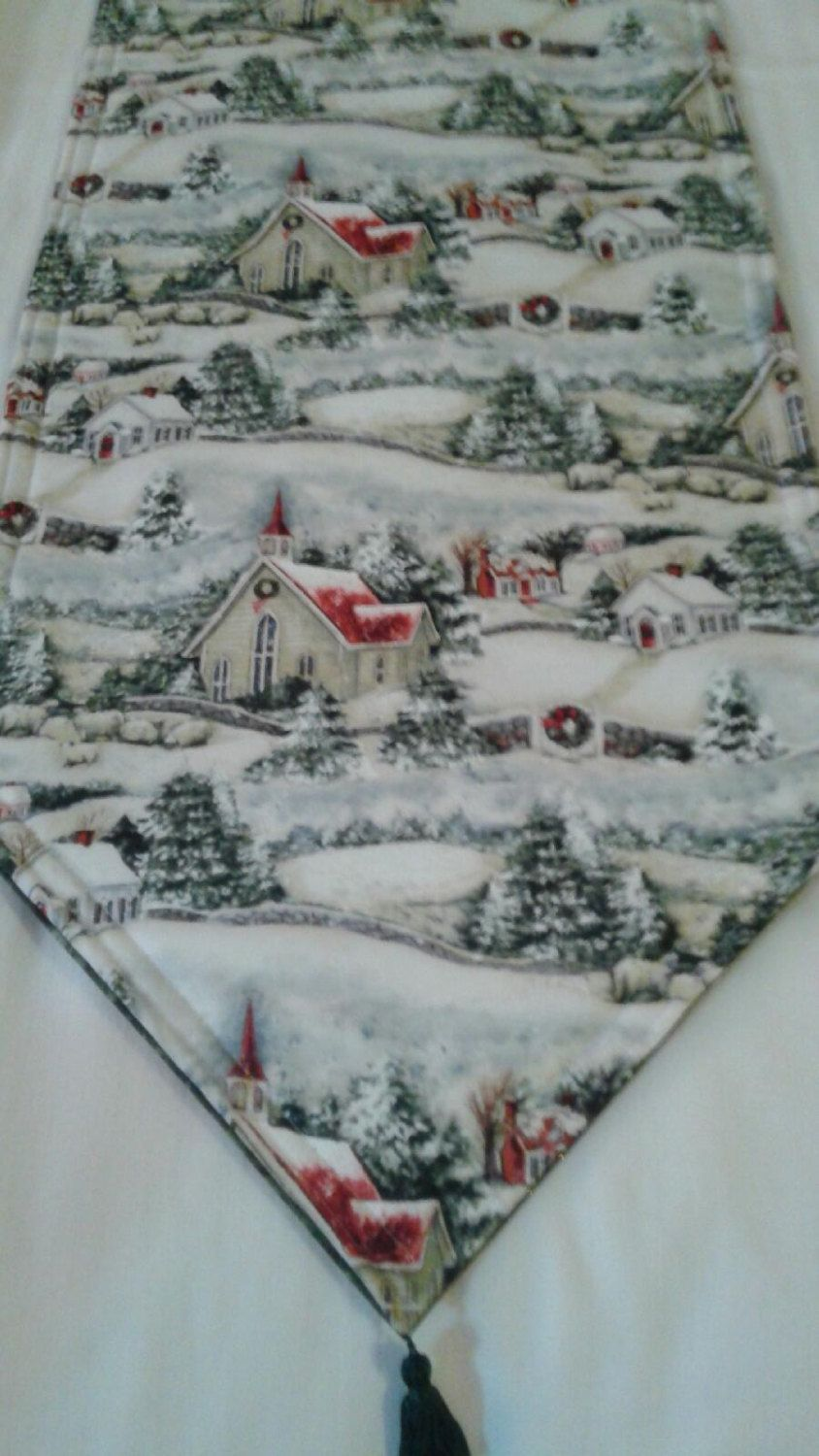 Winter Wonderland Table Runner Handmade 72x14 Padded and Reversible by freemansalesgirl on Etsy