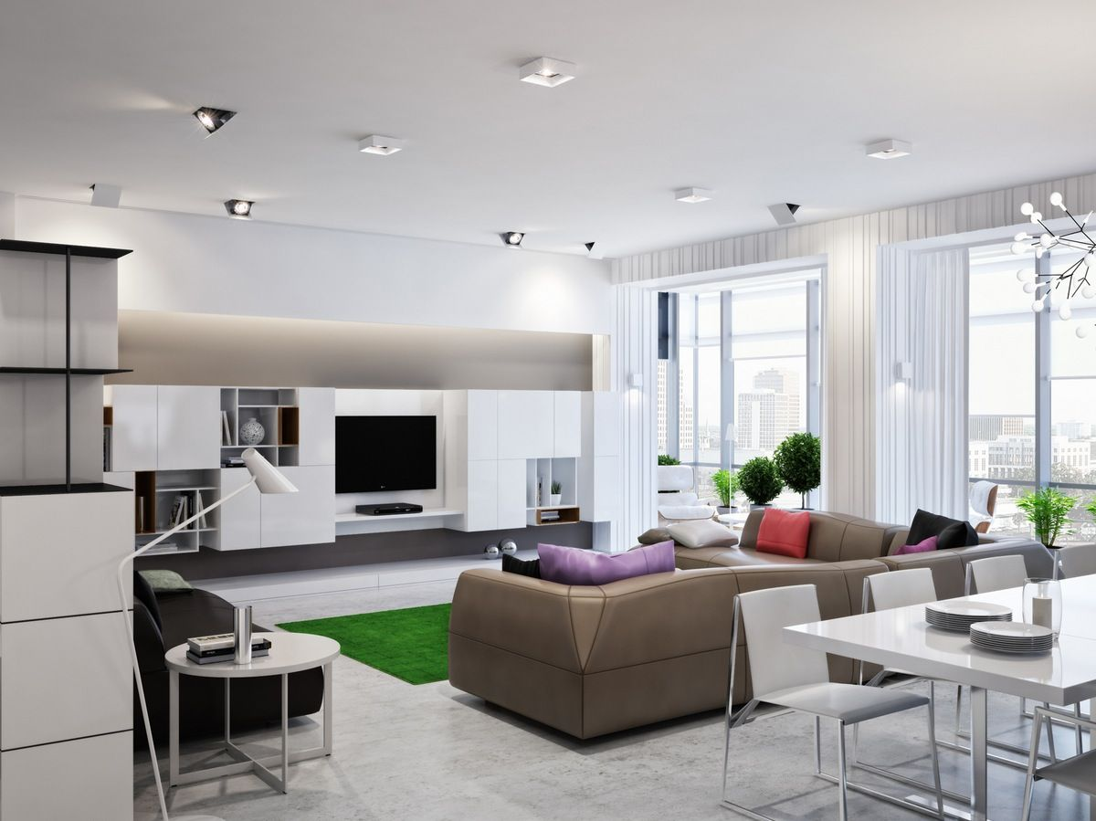 Modern Zoning in Ukrainian Apartment | Pinterest | Open plan, Living ...