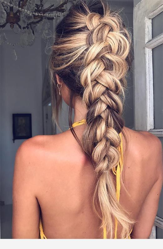 Large Braid And Backless Dress Braids For Long Hair Thick Hair Styles Braided Hairstyles