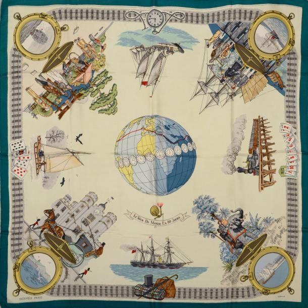 """carré Hermès  -  """"Le Tour du Monde en 80 Jours"""""""