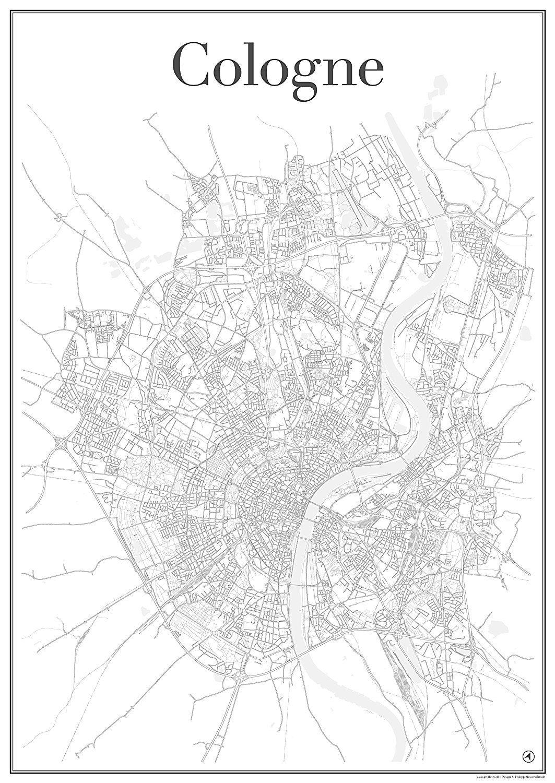 Cologne poster k ln stadtplan stadtkarte plakat for Dekoration wohnung amazon