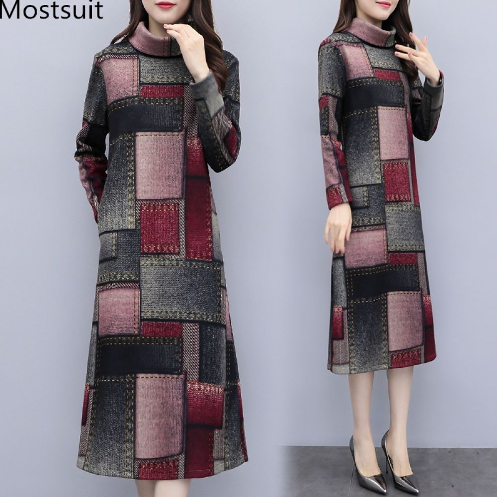 e7db66b0266 Woolen Plaid Long Dress Women Autumn Winter Plus Size Long Sleeve  Turtleneck Dresses Casual Office Korean Vestidos Mujer 2019 Price  47.38   hoodie