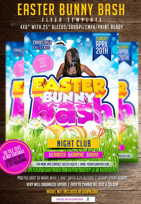 Easter Bunny Bash Flyer Template Flyer template, Font logo and Fonts