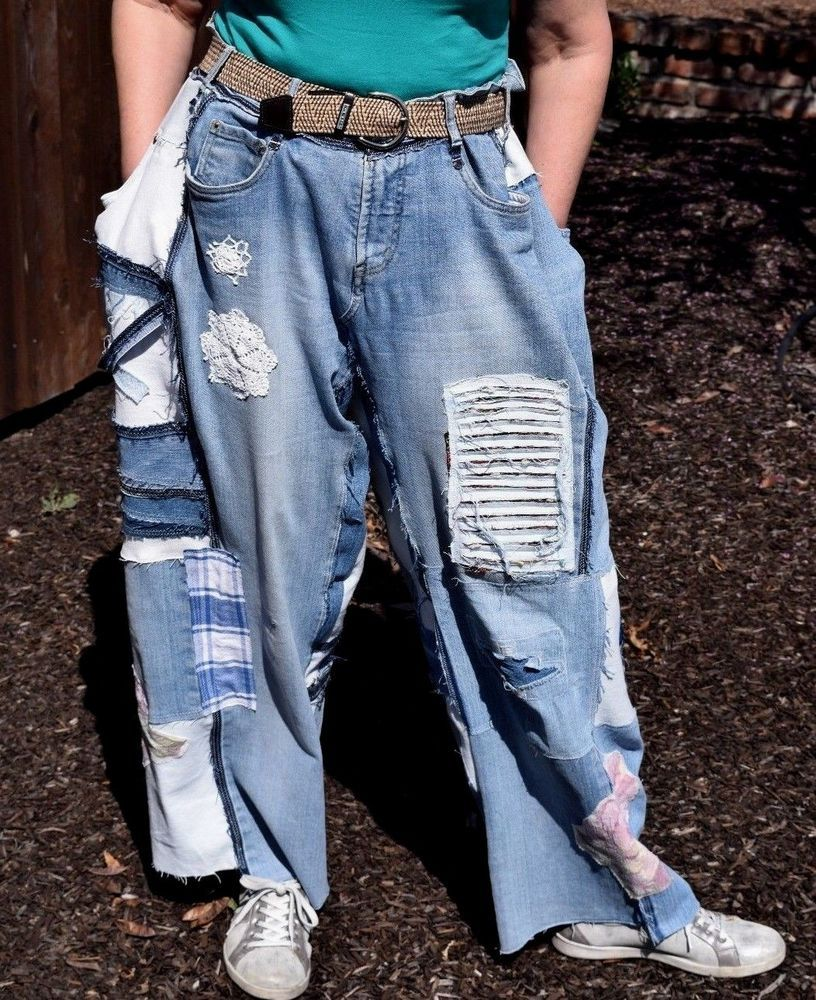 20d941393ade5c Upcycled Oversized Denim Baggy Jeans Pants Shabby Distressed Patchwork  XS-2X | Clothing, Shoes & Accessories, Women's Clothing, Jeans | eBay!