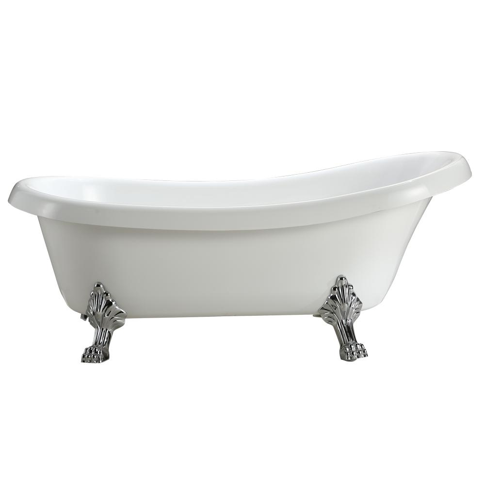 Vinnova Clermont 5.2 ft. Acrylic Clawfoot Non-Whirlpool Bathtub in ...