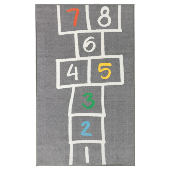 Hemmahos Tapis Gris 100x160cm Magasinez Chez Ikea Ikea In 2020 Hopscotch Rug Childrens Rugs Kids Rugs