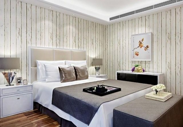 papier peint chambre d 39 aspect bois 30 id es magnifiques papier peint bois bois blanc et. Black Bedroom Furniture Sets. Home Design Ideas