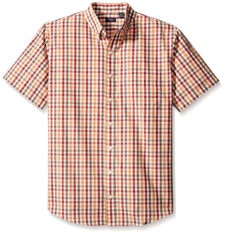 Arrow Mens Big and Tall Hamilton Poplins Short Sleeve Button Down Plaid Shirt