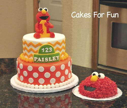 Sesame street Birthday Cake with chevron design and elmo topper