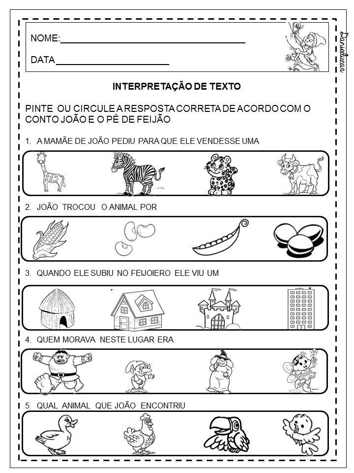 Dani Educar Interpretacao De Texto Joao E O Pe De Feijao