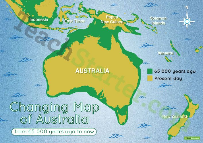 teaching resource a map showing the changes in australias coastline from 65 000 years ago to present day
