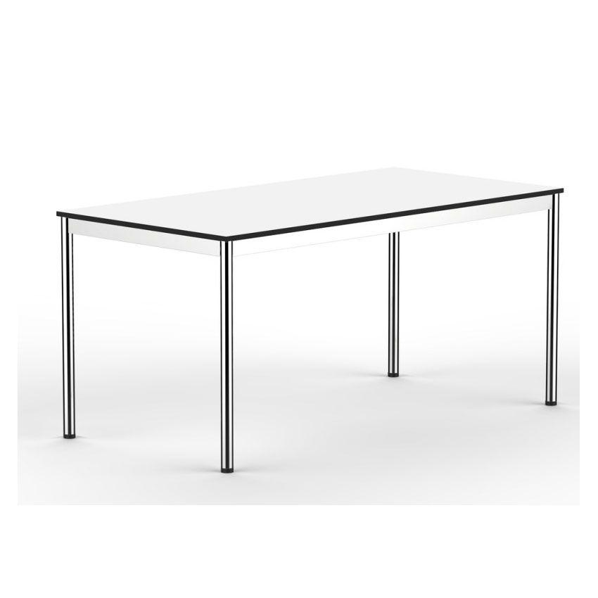 Eckschreibtisch weiß matt  Schreibtisch T1 inox weiss für Büro und Home Office ...