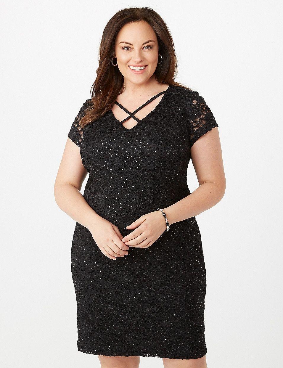 a4e3ba03e04 Plus Size Crisscross-Neckline Sequins Sheath Dress