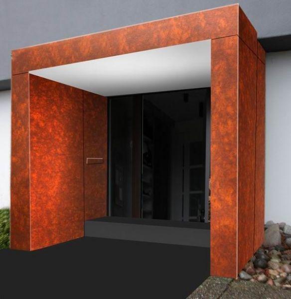 eingangs berdachung aus corten stahl canopies vord cher pinterest vordach eingang und. Black Bedroom Furniture Sets. Home Design Ideas
