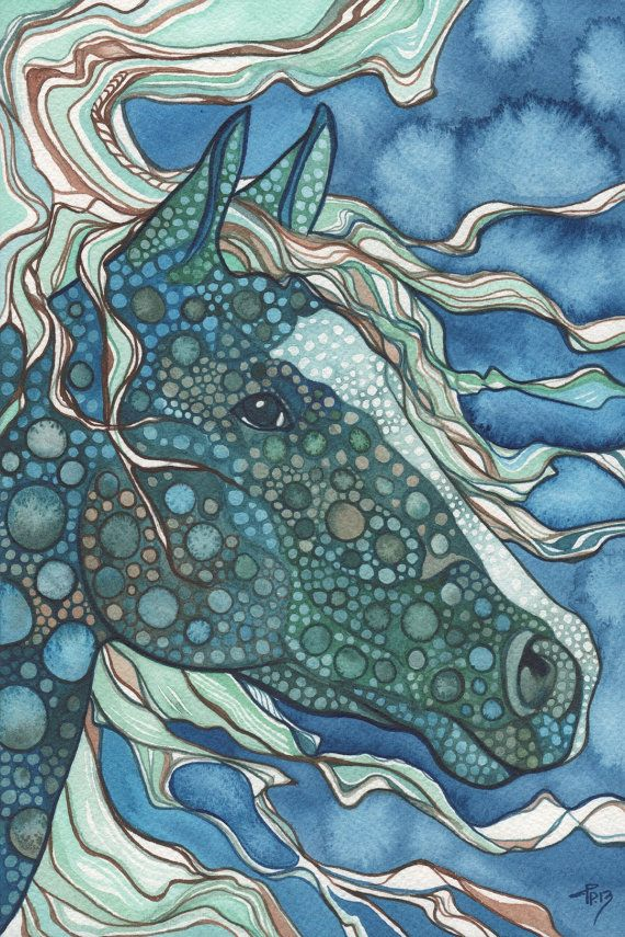Midnight HORSE 5 x 7 print of detailed watercolour artwork in cool deep teal and aqua blue greens, seahorse, ocean, dragon, unicorn, magic