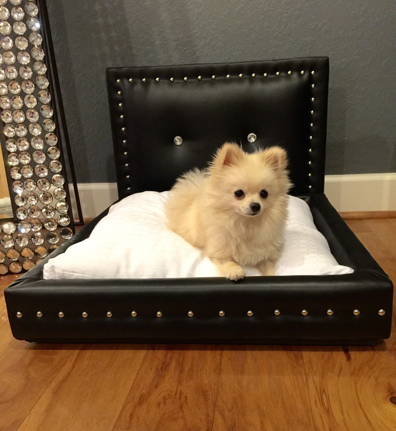 A Personal Favorite From My Etsy Shop Httpswwwetsycomlisting241628180Black Dog Bed With Diamon Buttons