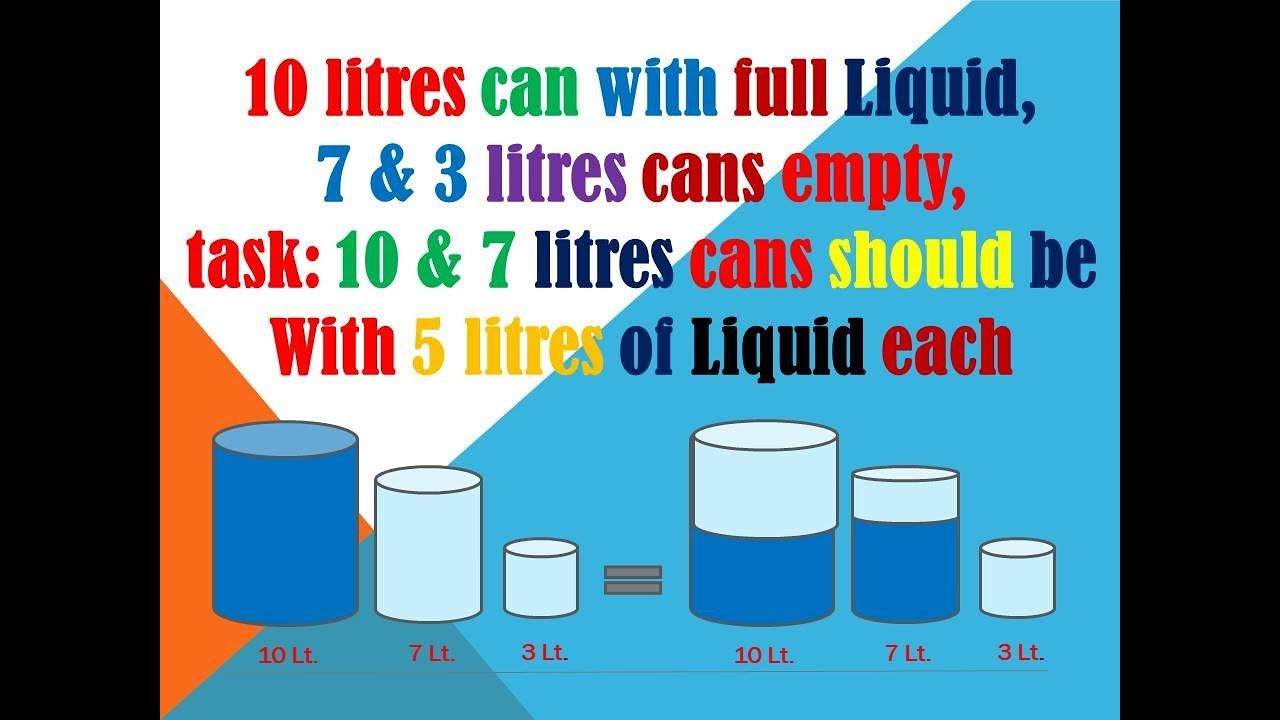 Solve The Problem Make The Equation Of Liquid From 10 0 0 To 5 5 0 In Tough Riddles Solving This Or That Questions
