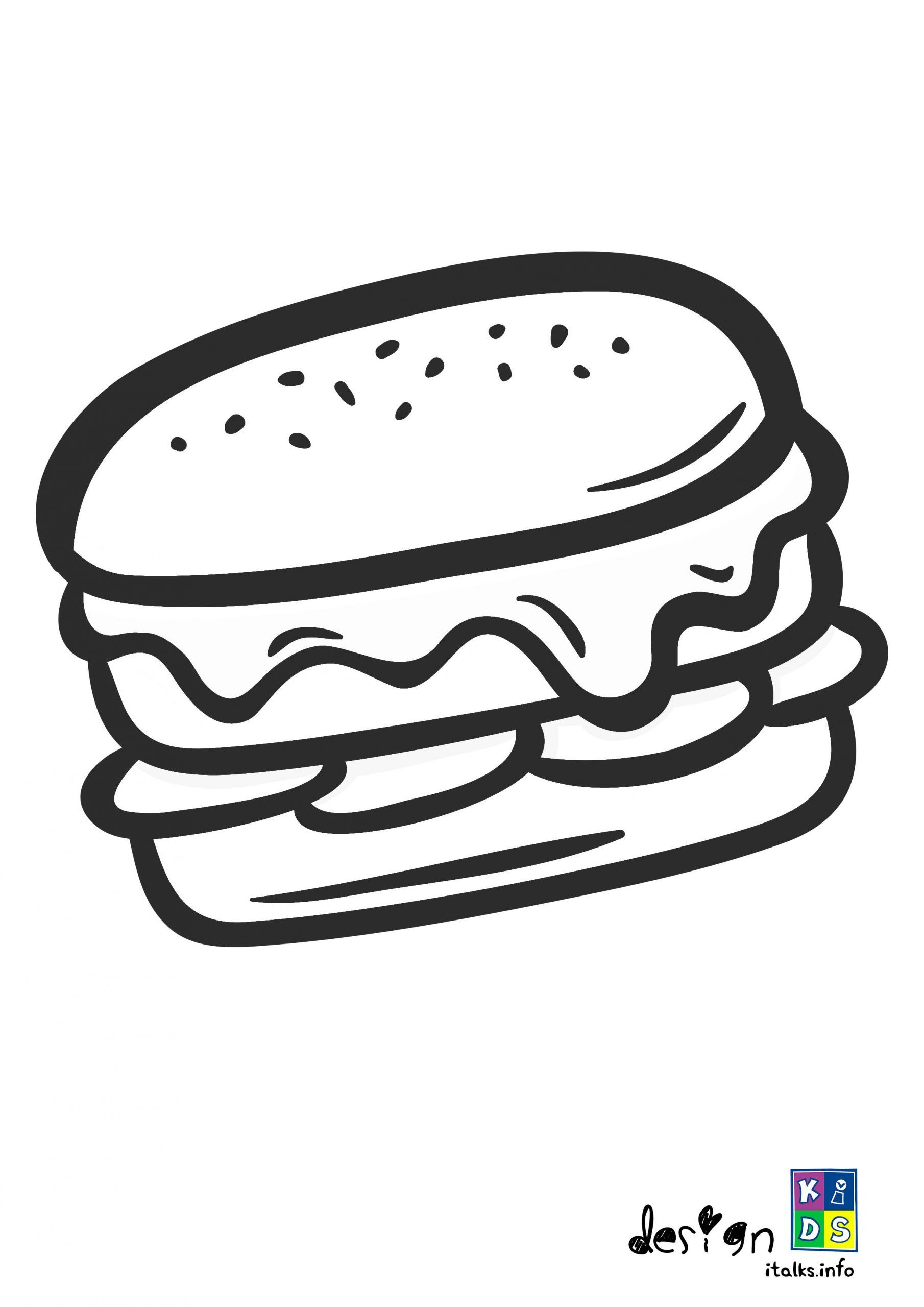 Hamburger Coloring Page In 2020 Free Printable Coloring Pages