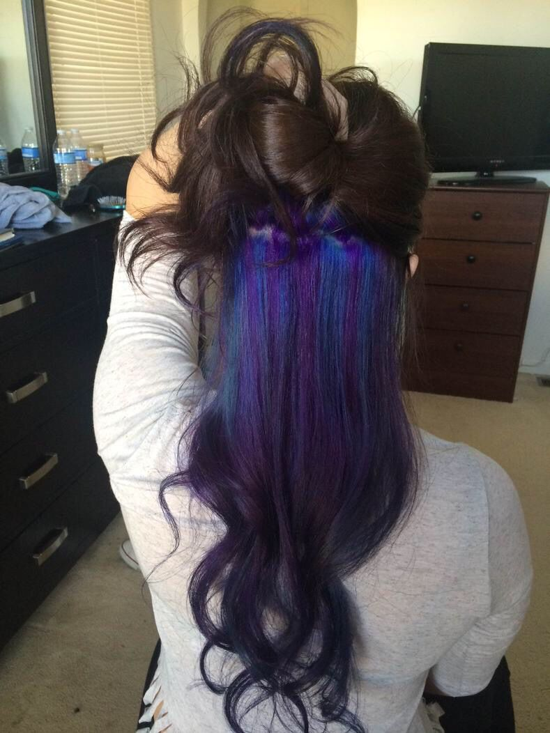 Purple and blue hidden in black hair
