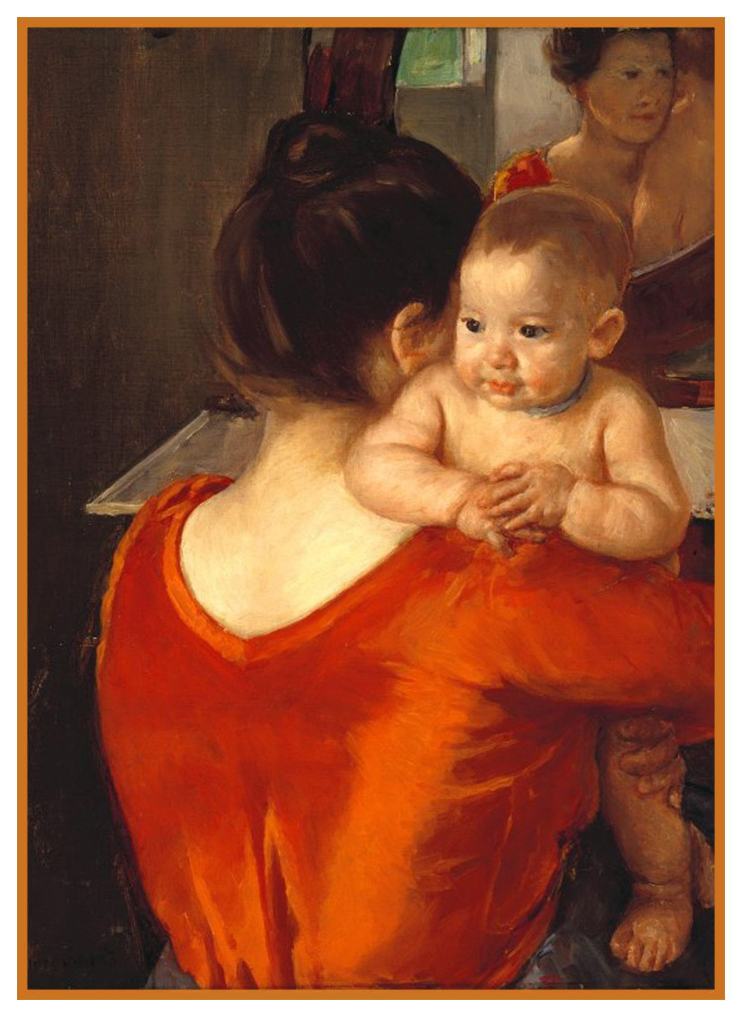 Woman In Red Dress With Baby By American Impressionist Artist Mary Cassatt Counted Cross Stitch Or