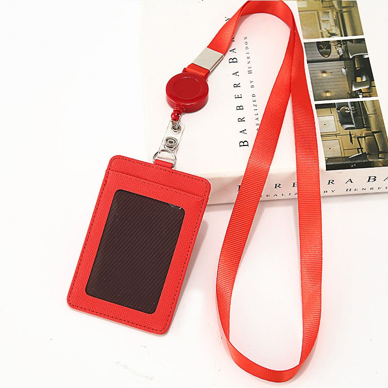 Details about  /Portable Leather Business ID Card Credit Badge Holder Coin Purse Wallet Keychain