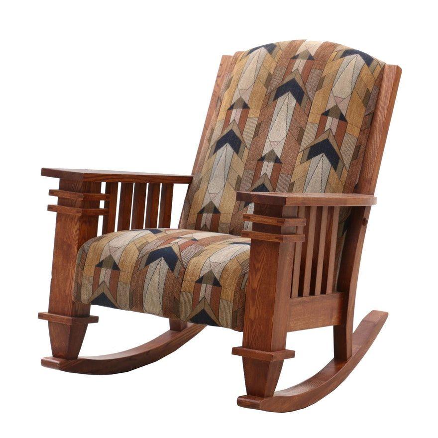 Mission Style Oak Upholstered Rocking Chair Upholstered Rocking