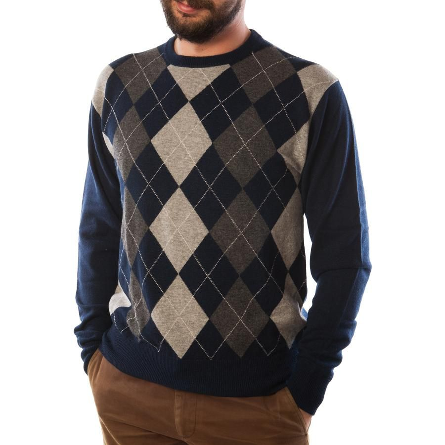 DUNEDIN CASHMERE Argyle Crew Neck Mens 100% Cashmere Luxury Jumper ...