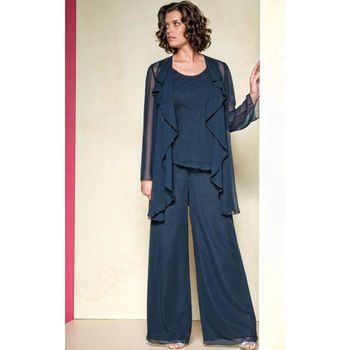 Chiffon Mother Of The Bride Pant Suits 2015 Summer Long Sleeve ...