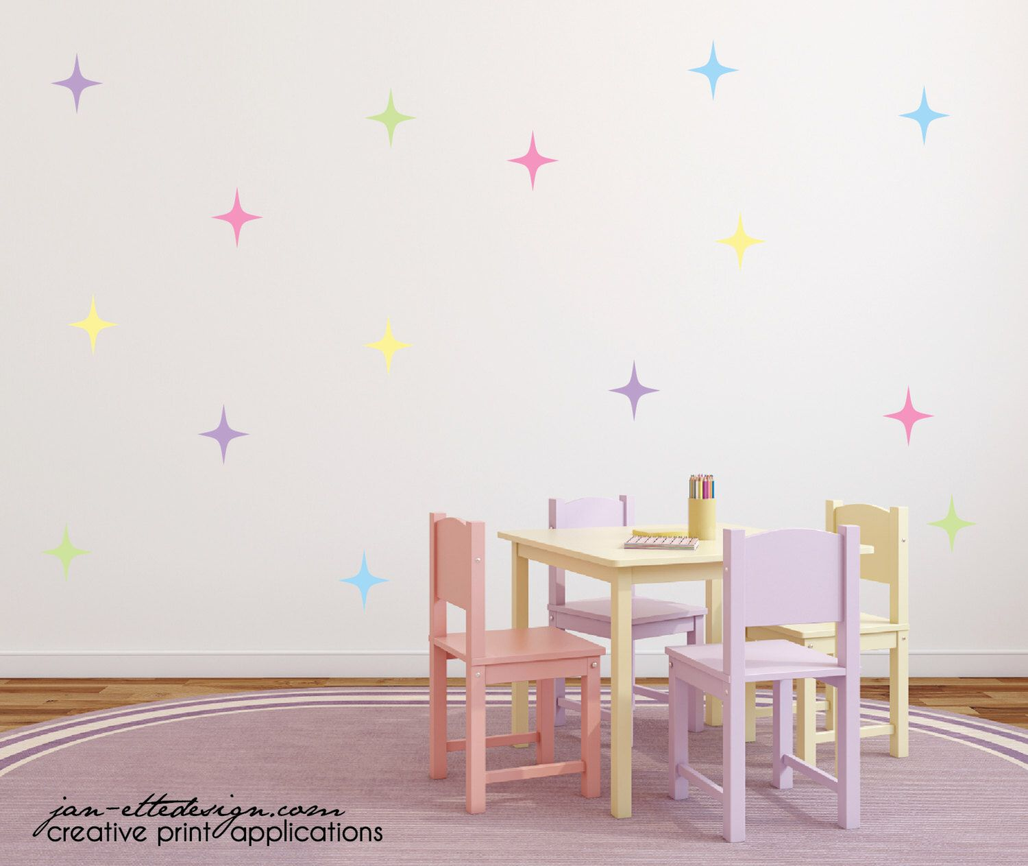 Girl Wall Decals Star Wall Stickers Sparkle Star Wall Decals By