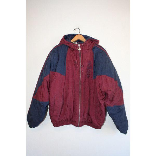 ADIDAS COAT size medium 90s puffy winter coat hood urban trefoil jacket big  logo athletic vaporwave vintage! - Polyvore b2cf5d4491a1