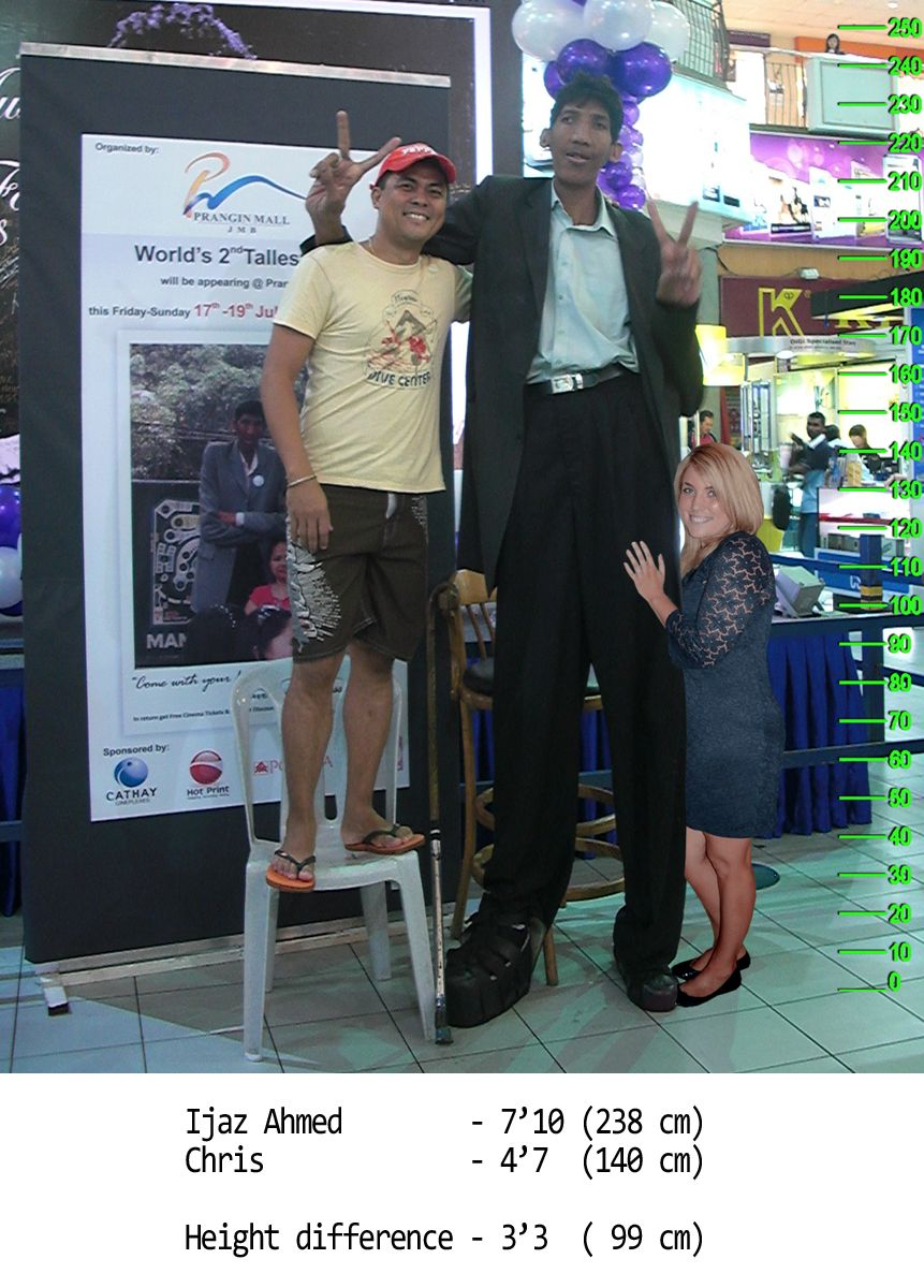 Ijaz Ahmed With 47 140 Cm Chris Height Difference 33 99 Cm