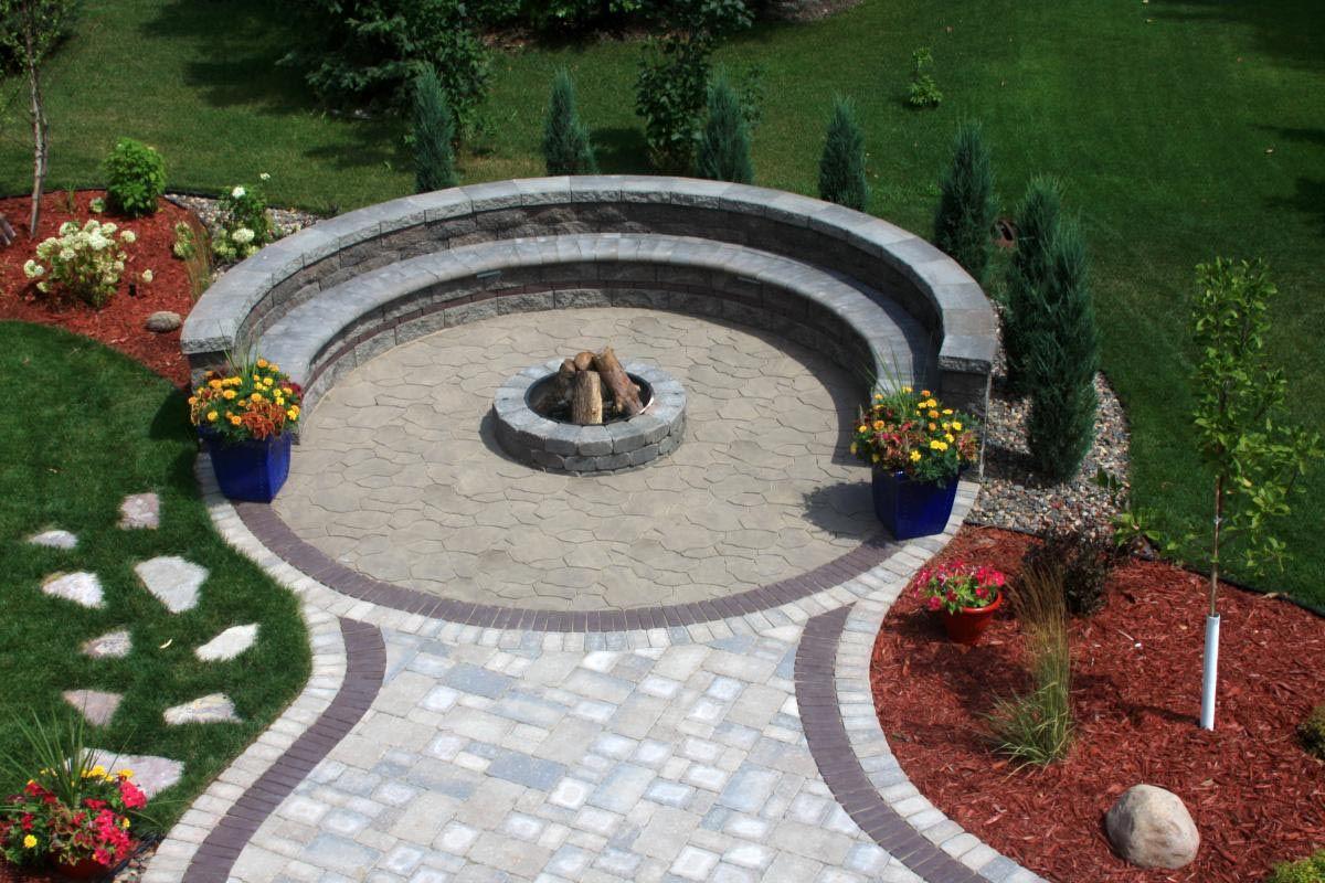 Circular Paver Patio with Fire Pit - Circular Paver Patio With Fire Pit Fire Pit Pinterest Patio