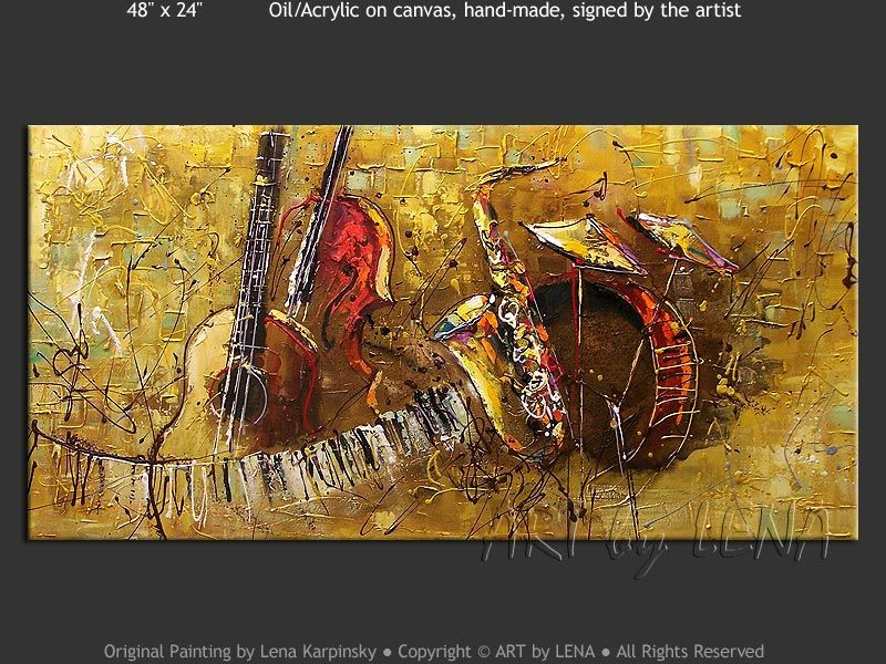 """The Golden Sax"" - Original Music Art by Lena Karpinsky, http://www.artbylena.com/original-painting/21040/the-golden-sax.html"