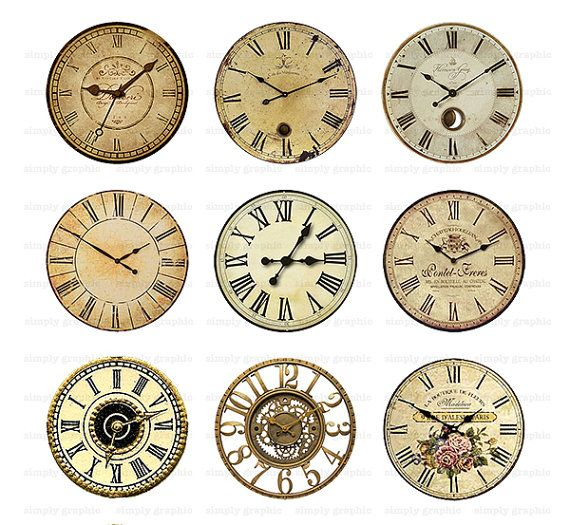 Vintage Clock Face, Steampunk Clock, Digital Collage Sheet ...